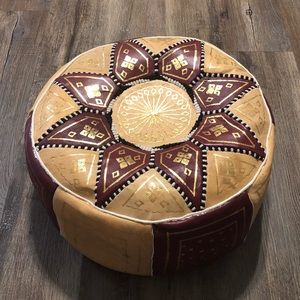 Authentic Moroccan Leather Ottoman Pouf